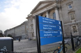 Education signage - Trinity College external post panel sign