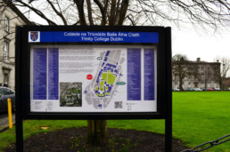 Education signage - Trinity College external display cabinet with map