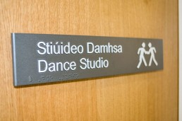 Health sector - Applewood Community Centre dance studio room sign with tactile and braille