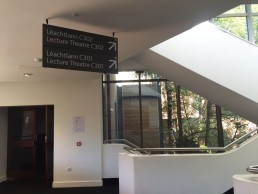 Educational signage - UCD suspended sign