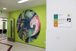 Temple Street Childrens Hospital wall graphics and directory sign