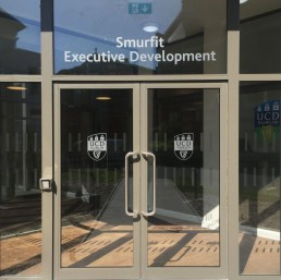 Educational signage - UCD Smurfit Executive Development Building manifestation