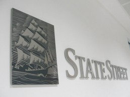 State Street internal lettering and branding