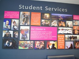 Student services wall branding