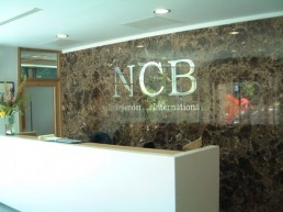 NCB internal stainless steel lettering