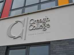 Creagh College external lettering